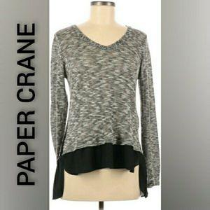 Paper Crane Sweater Tunic High Low Black Medium